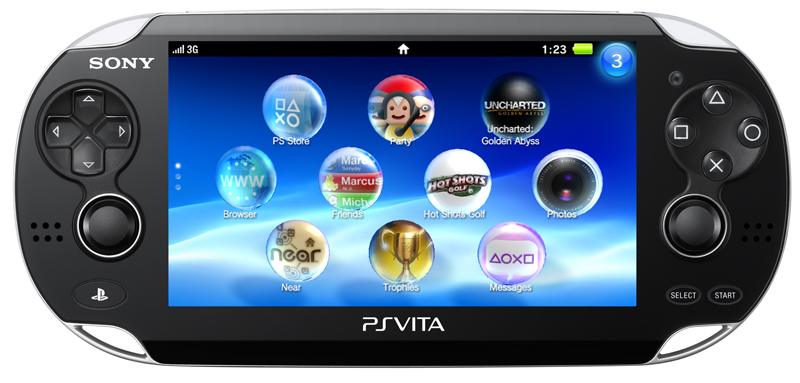 Vista frontal de la PS Vita